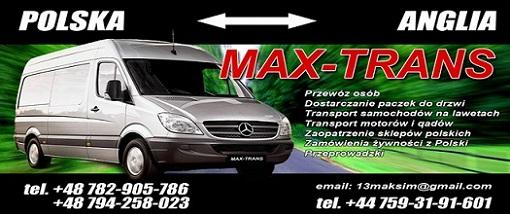 MAX-TRANS Polska-Anglia Przewozy Paczek