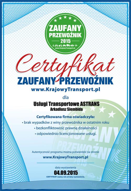 certyfikat zaufany przewoznik astrans 2015