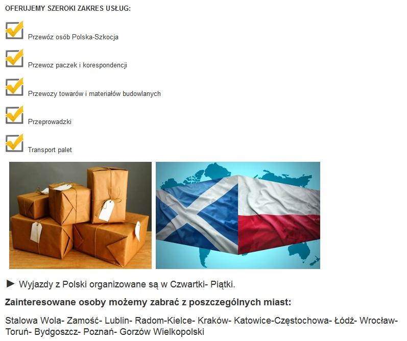 transport osób polska szkocja