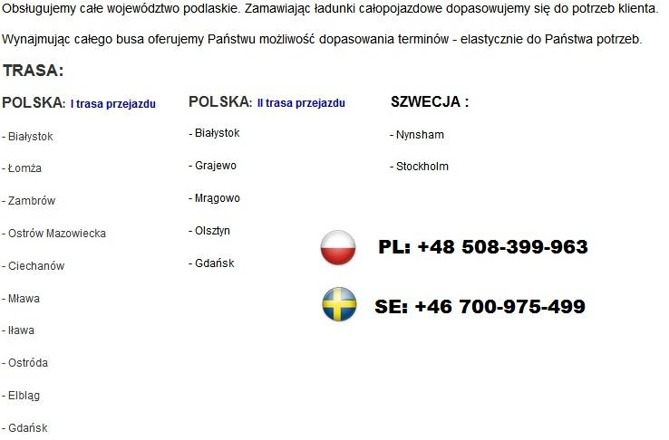 przewozy szwecja polska