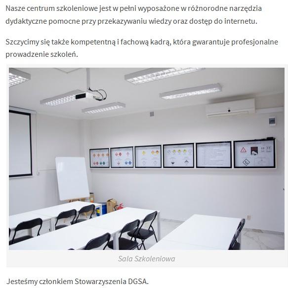Wnętrze sali przygotowawczej kursy adr doradcow dgsa