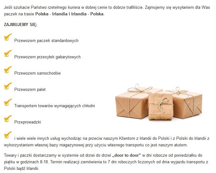 transport towarów dublin polskja