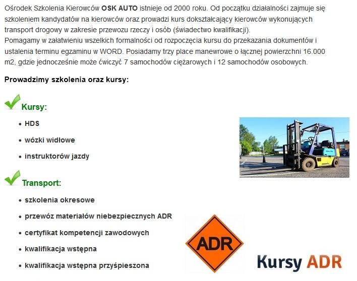 gama szkoleń w OSK Auto - Leżajsk