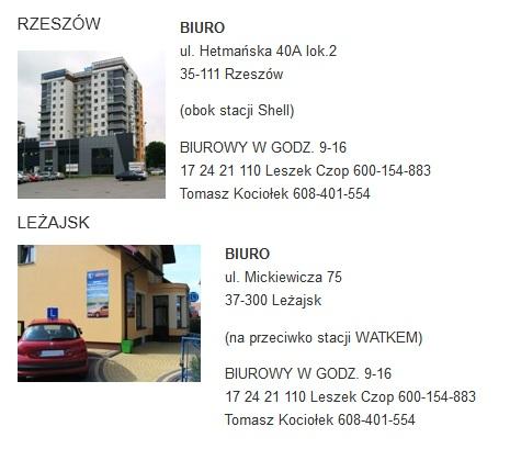 dane kontaktowe oraz zdjęcia siedzib OSK Auto Leżajsk
