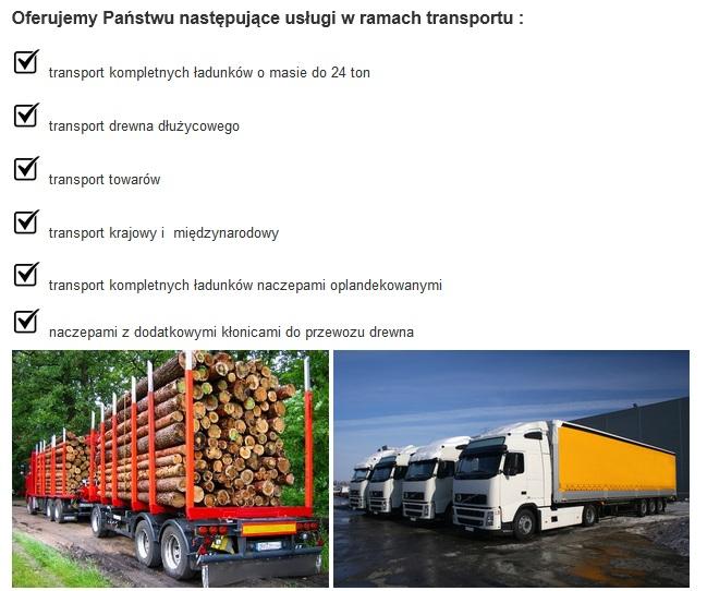 zakres możliwości transportu drewna z pisza