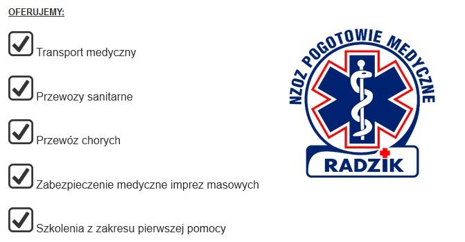 lista uslug radzik transport medyczny sedziszow